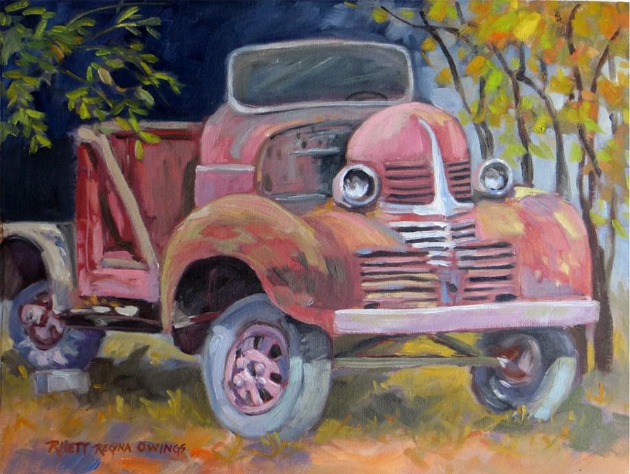 """The Old Red Truck"" original fine art by Rhett Regina Owings"
