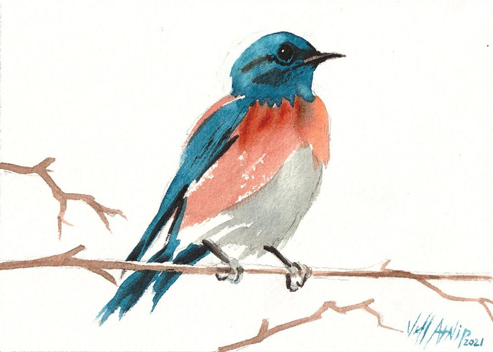 """Bluebird"" original fine art by Jeff Atnip"