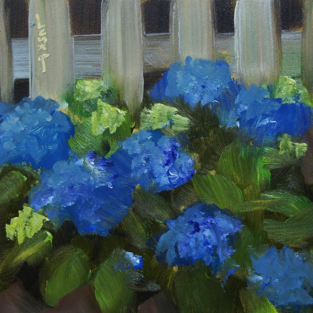 """Blue Hydrangea (Tiny Flower Series)"" original fine art by Elaine Juska Joseph"