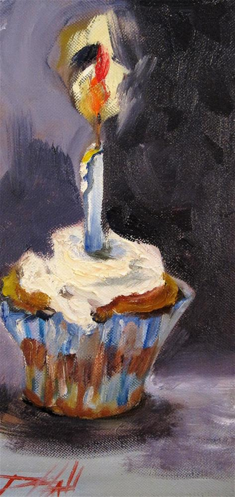 """Birthday Cupcake"" original fine art by Delilah Smith"
