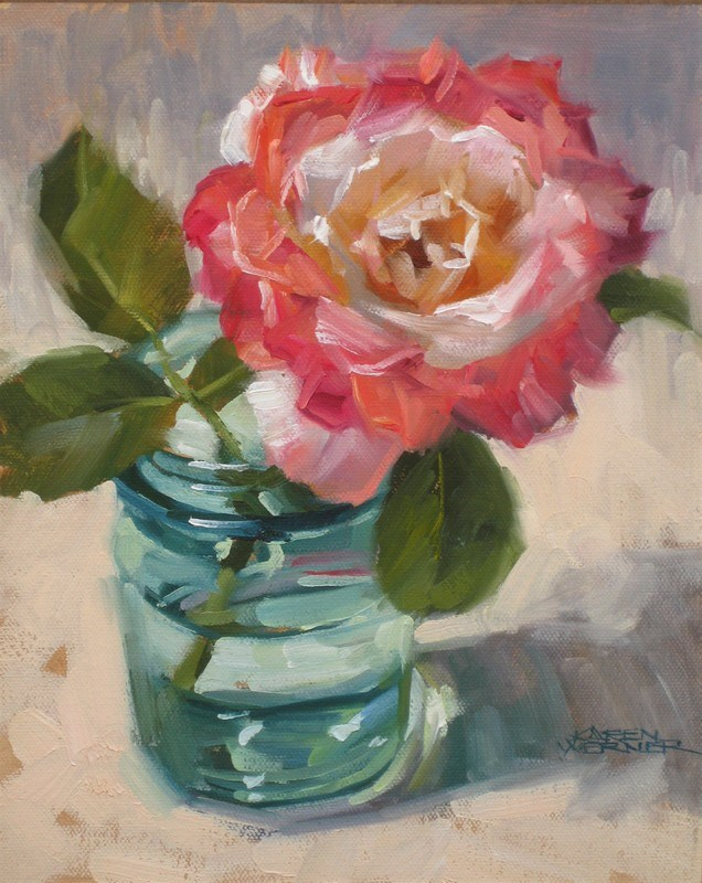 """Rainbow Rose"" original fine art by Karen Werner"