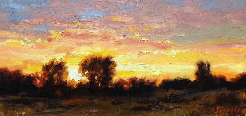 """Sunset Along Honeycut Road"" original fine art by Susan N Jarvis"
