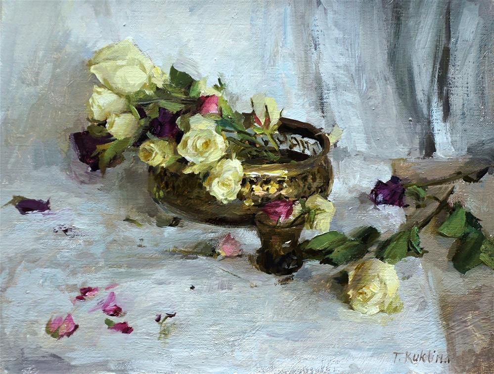 """white roses"" original fine art by Taisia Kuklina"