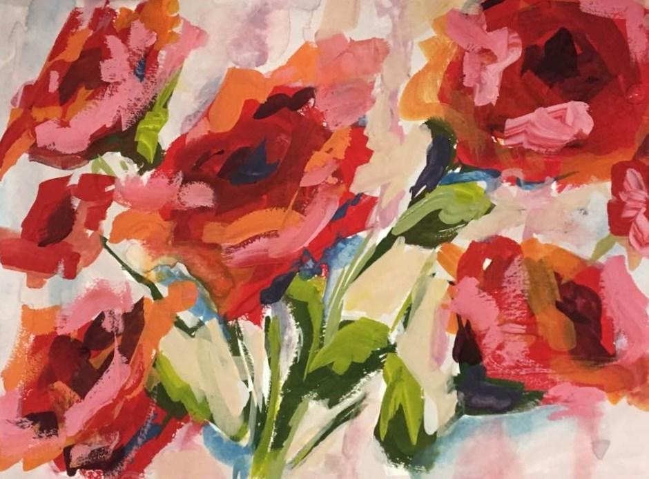 """Red Roses"" original fine art by Susan Elizabeth Jones"