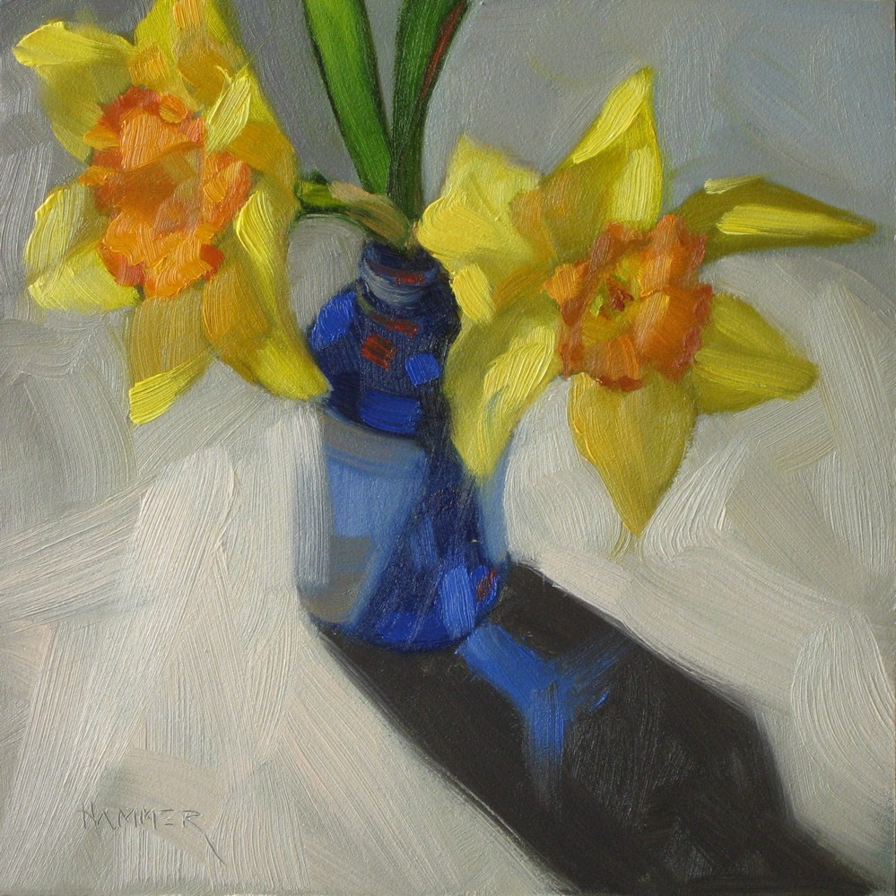 """Two daffodils 6x6 oil"" original fine art by Claudia Hammer"