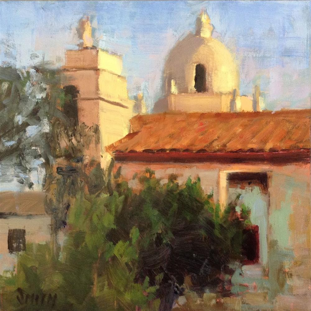 """Sunset at The Mission"" original fine art by Barbie Smith"