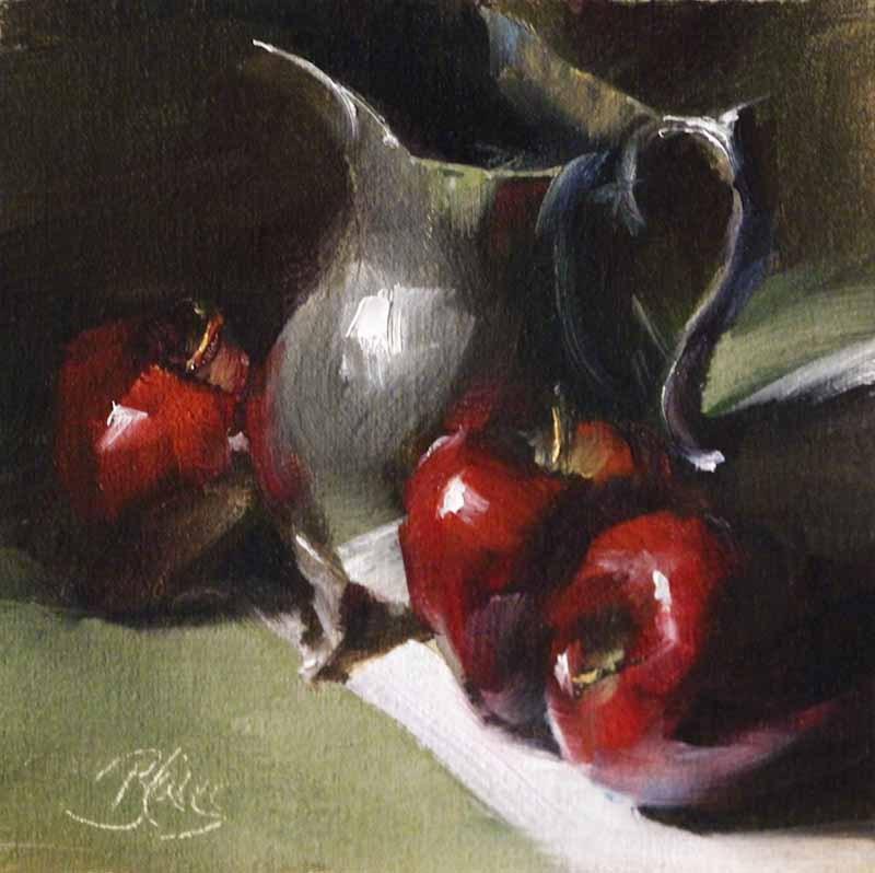 """Apples and Antique Silver"" original fine art by Pamela Blaies"