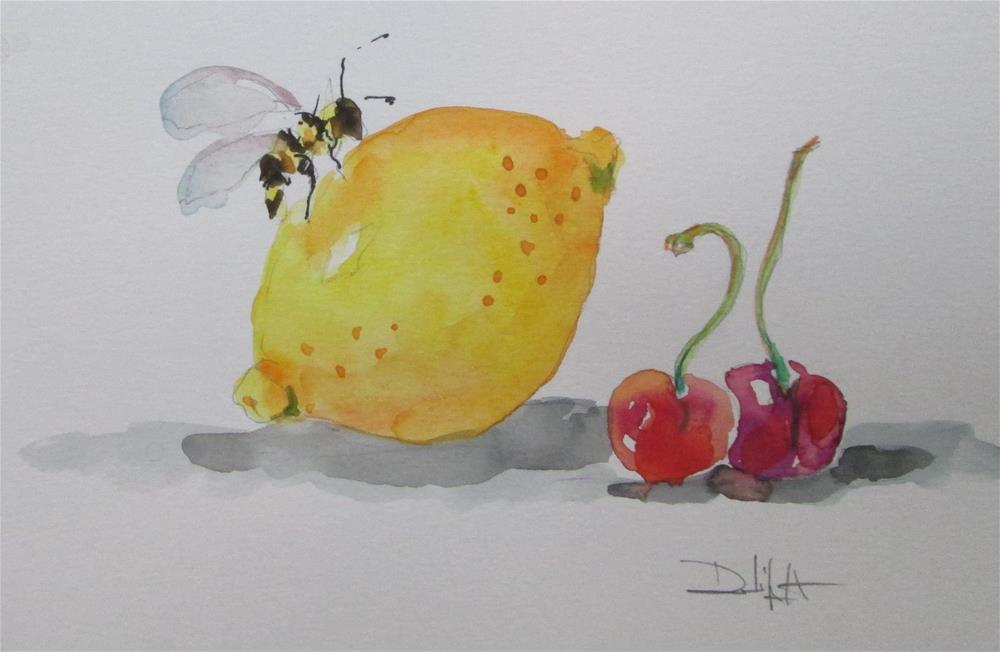 """Lemon, Cherries, and  Bee"" original fine art by Delilah Smith"