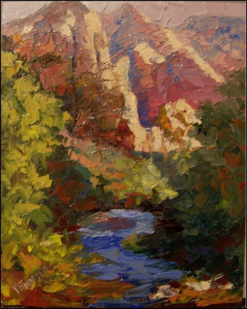 """""""Summer in Zion, 8x10, oil on board by Maryanne Jacobsen, Zion National park oil painting, small pa"""" original fine art by Maryanne Jacobsen"""