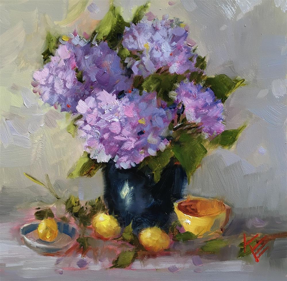 """""""Hydrangeas & lemons"""" original fine art by Krista Eaton"""