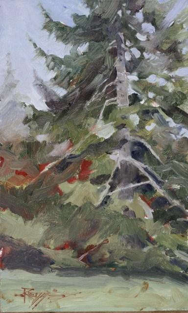 """""""The Fir Tree"""" original fine art by Robin Weiss"""