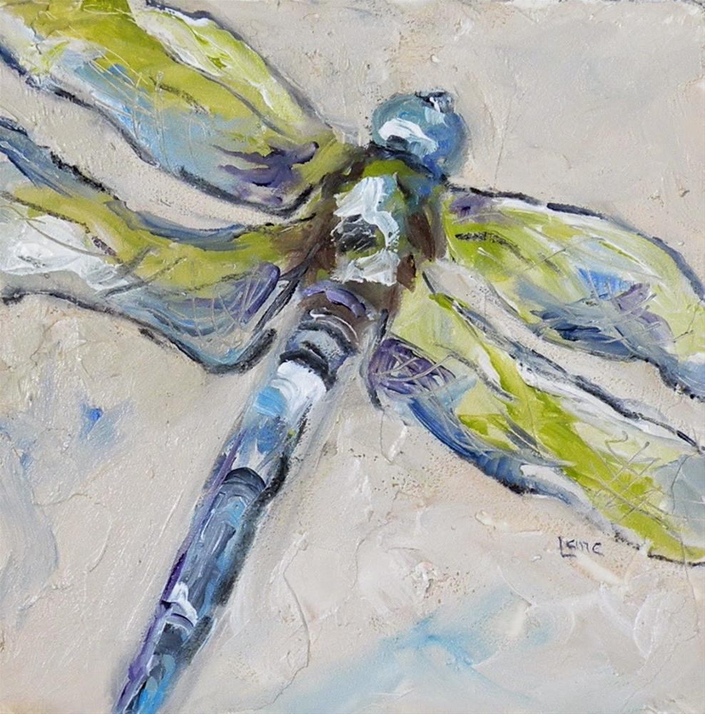 """""""DRAGONFLY IN GREEN AND BLUE ORIGINAL OIL ON TEXTURED 4X4 PANEL © SAUNDRA LANE GALLOWAY"""" original fine art by Saundra Lane Galloway"""