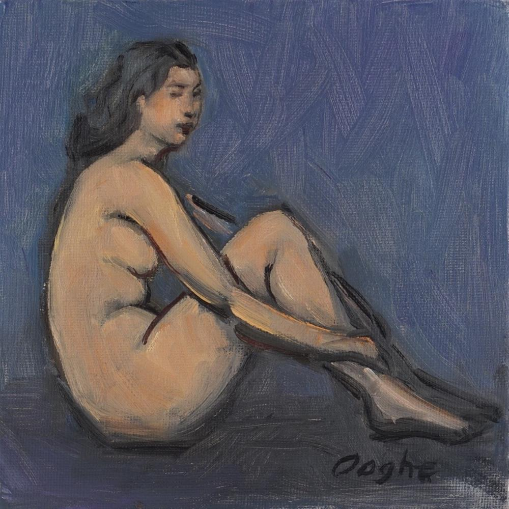 """""""Woman on Blue Background"""" original fine art by Angela Ooghe"""
