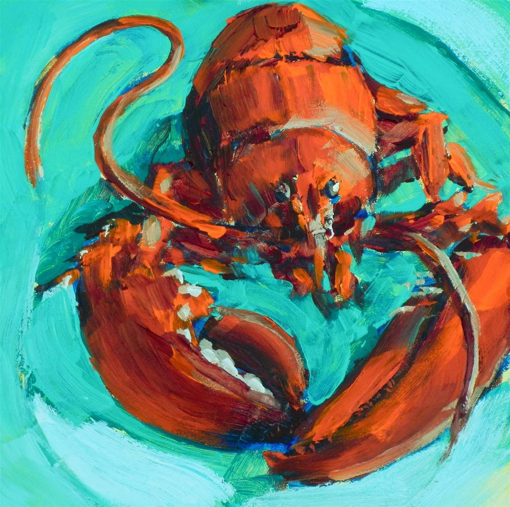 """Independence Day Lobster, 6x6 Inches, Original Acrylic Painting"" original fine art by Kelley MacDonald"