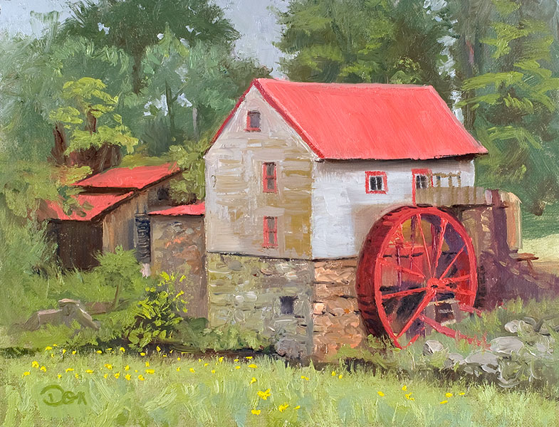 """""""Misty Day at the Mill"""" original fine art by Don Stewart"""