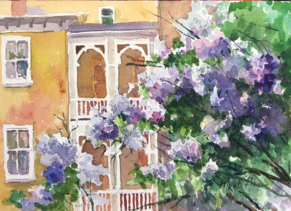 """Lilacs from the Alley"" original fine art by Marita Hines"