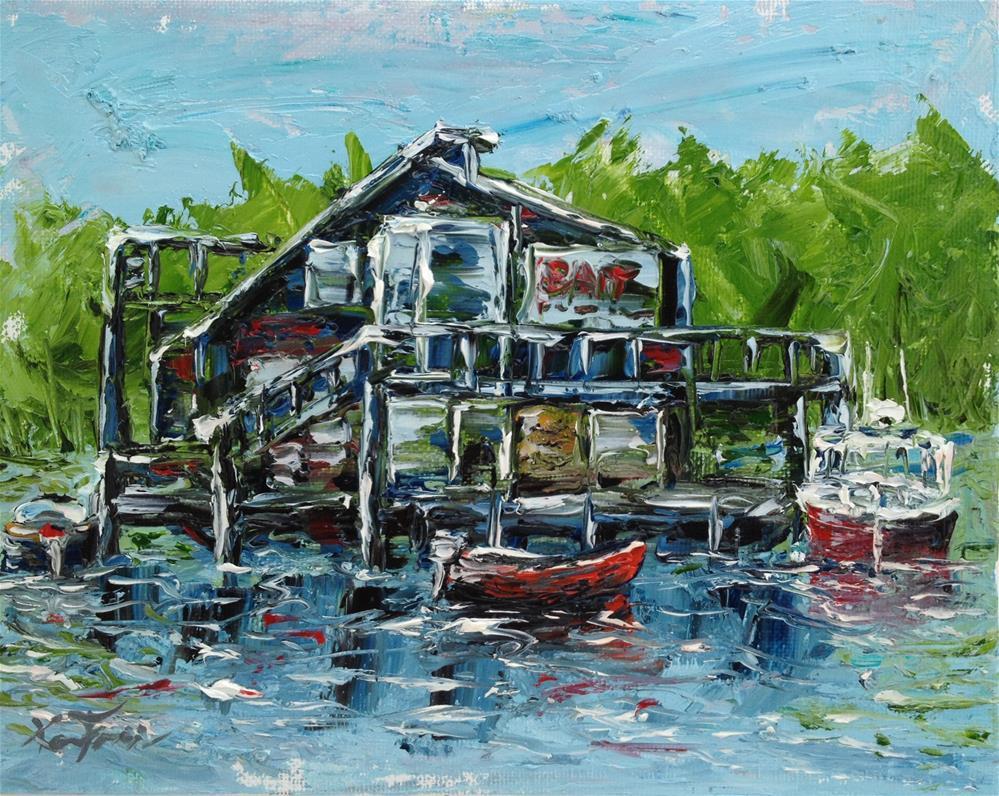 """""""Jensens Bait Barge"""" original fine art by Ken Fraser"""