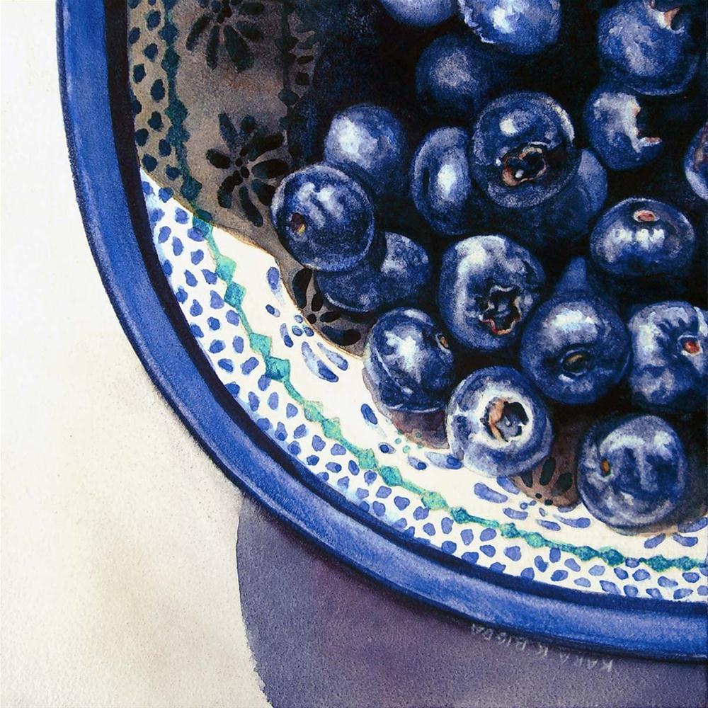 """Polish Pottery and Blueberries"" original fine art by Kara K. Bigda"