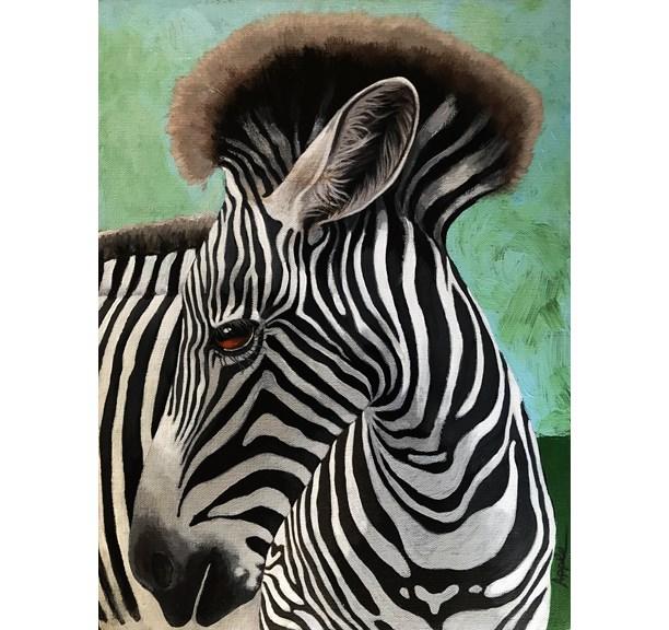 """Baby Zebra wild animal realistic portrait nature painting by Linda Apple"" original fine art by Linda Apple"