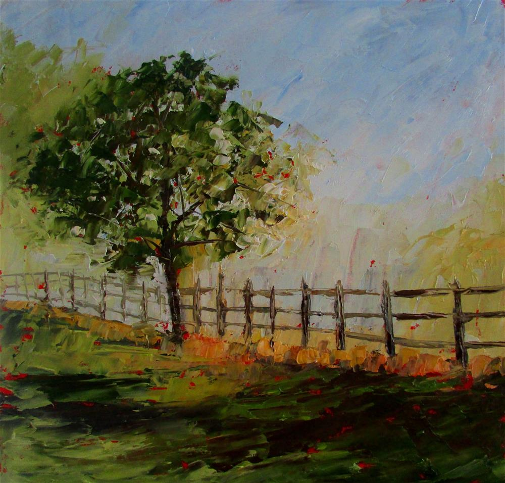 """8 x 8 inch oil Tree"" original fine art by Linda Yurgensen"