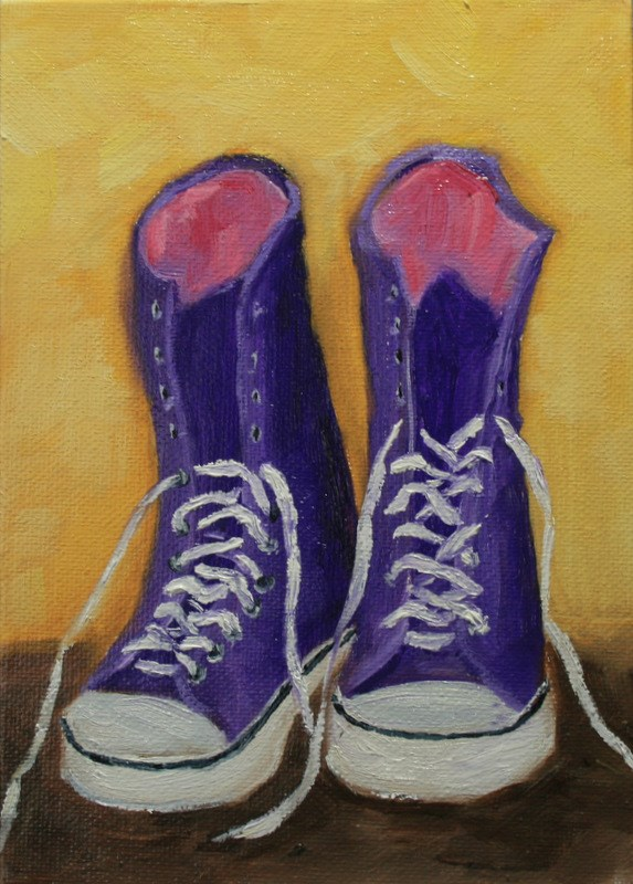 """Purple High Tops"" original fine art by Jean Nelson"