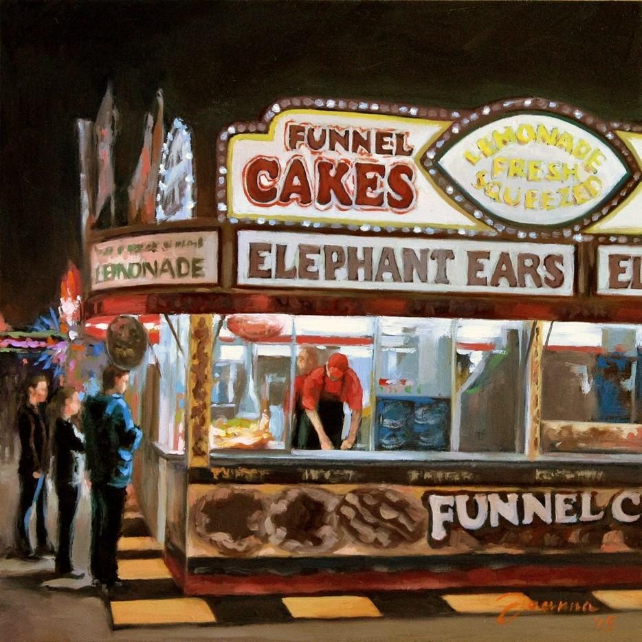 """Funnel Cake--Series Painting of Fair Food Booth"" original fine art by Joanna Bingham"