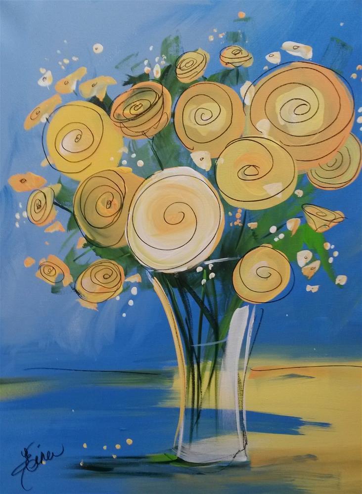 """Yellow Roses"" original fine art by Terri Einer"