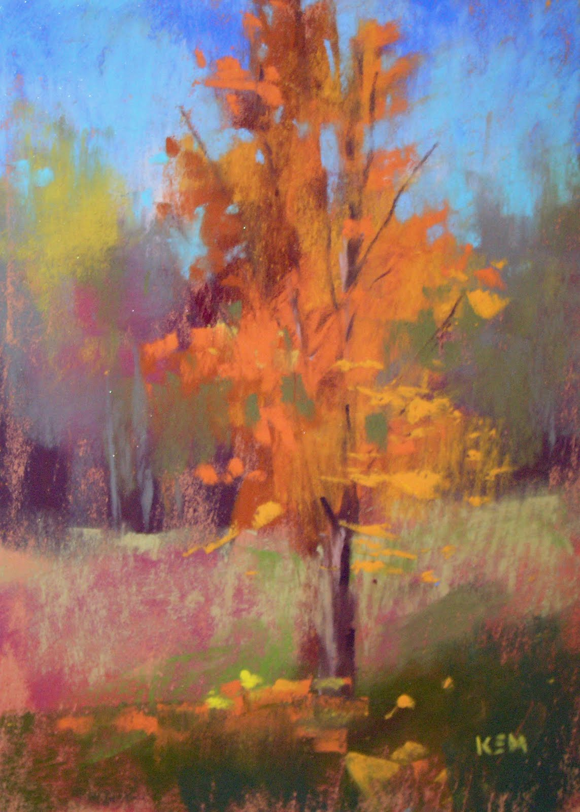 """Another Plein Air Tree 5x7 pastel"" original fine art by Karen Margulis"