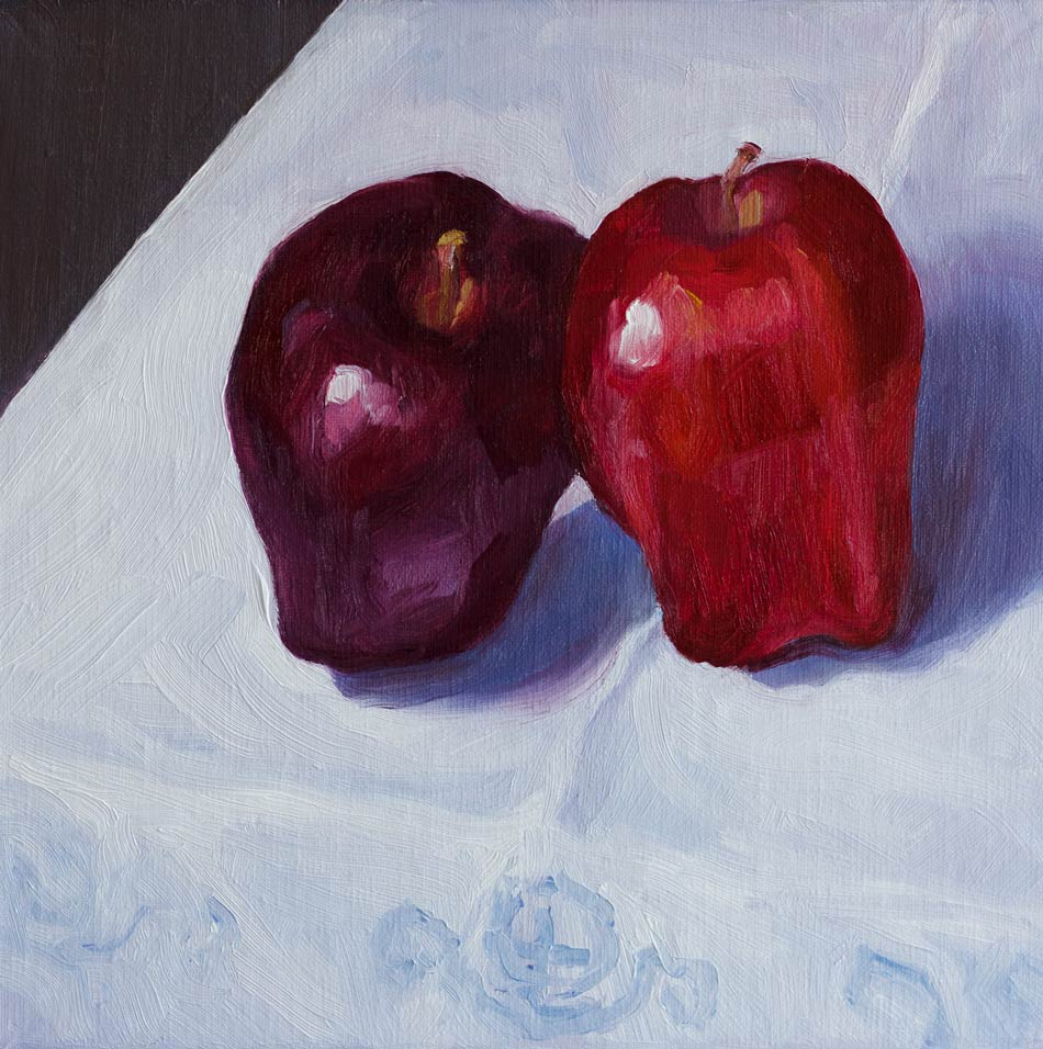 """Learning Leaning Apples on Grannie's Linen"" original fine art by Jana Bouc"