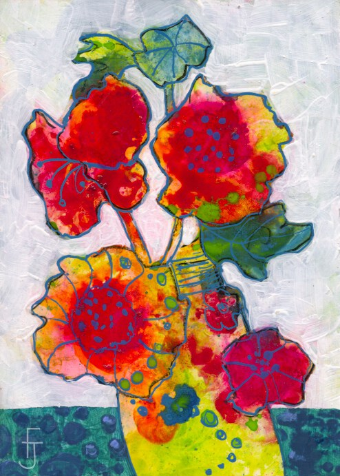 """Funky Flower 3"" original fine art by Francine Dufour~Jones"