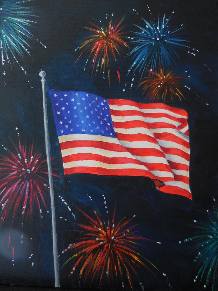 """GOD BLESS AMERICA"" original fine art by Terri Nicholson"