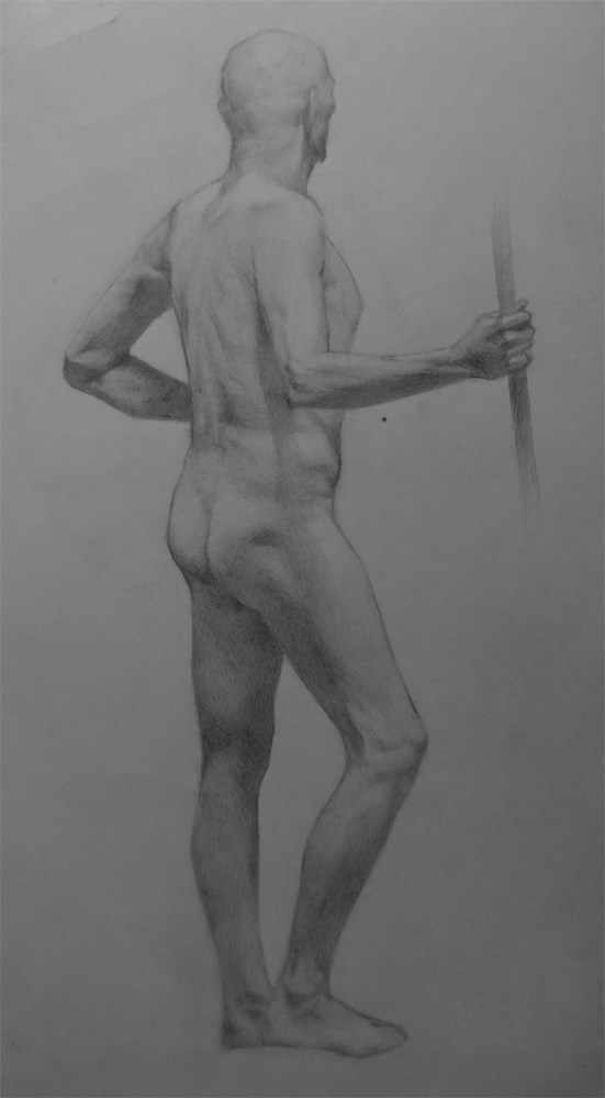 """Standing Tall - Figure Drawing of Ward from Life"" original fine art by Arena Shawn"
