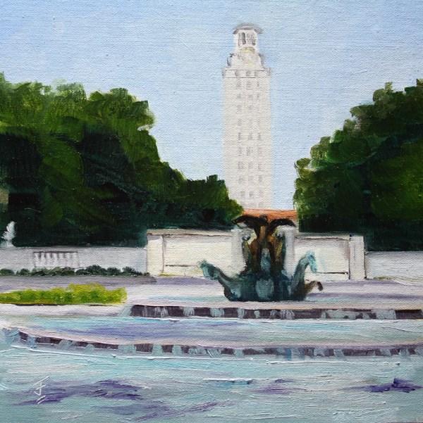 """UT Tower from 21st Street"" original fine art by Jane Frederick"