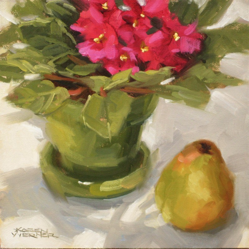 """""""Violets & A Pear"""" original fine art by Karen Werner"""