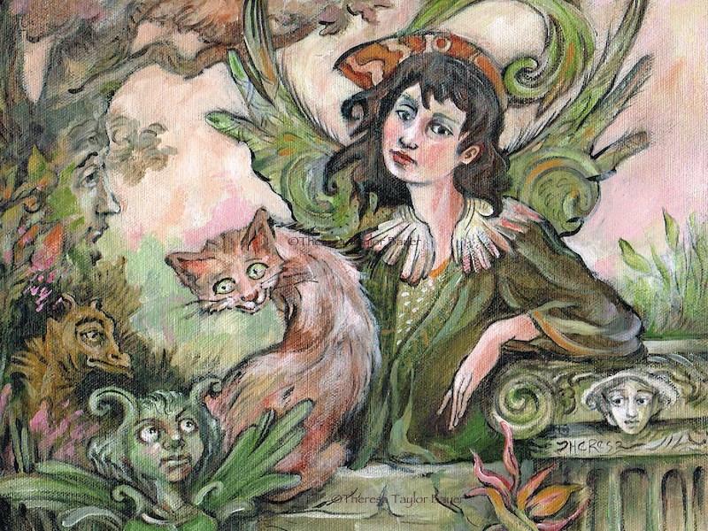 """Green Fairy - Theresa Taylor Bayer"" original fine art by Theresa Taylor Bayer"