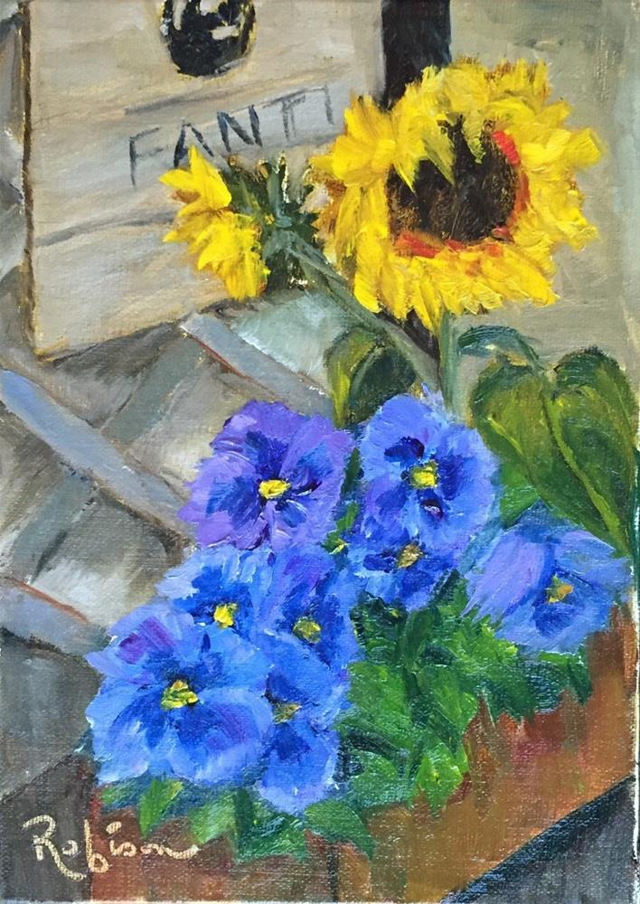 """Sunflowers Over Pansies"" original fine art by Renee Robison"