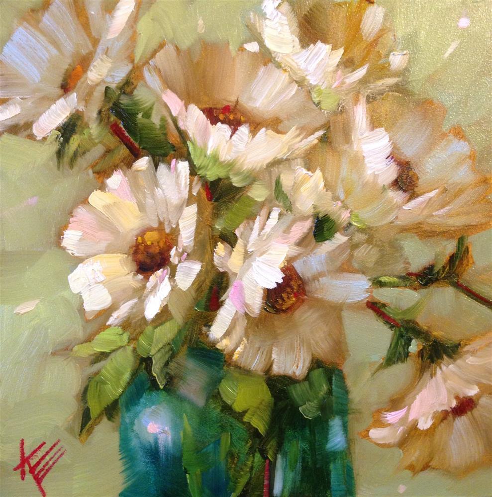 """Daisies on lime"" original fine art by Krista Eaton"