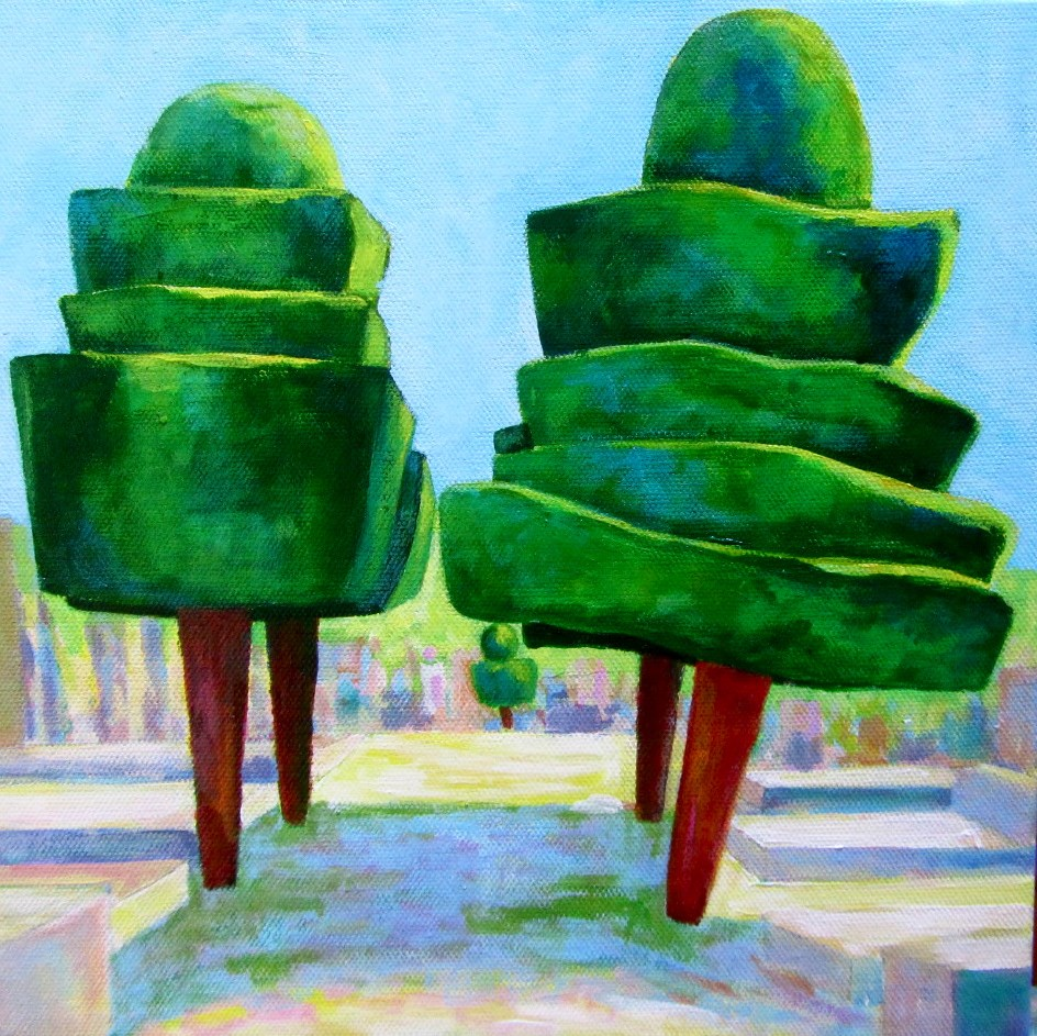 """Goult Topiary Trees"" original fine art by Patricia MacDonald"