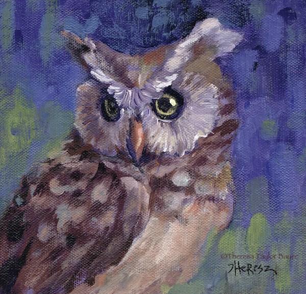 """Owl Be There - Theresa Taylor Bayer"" original fine art by Theresa Taylor Bayer"
