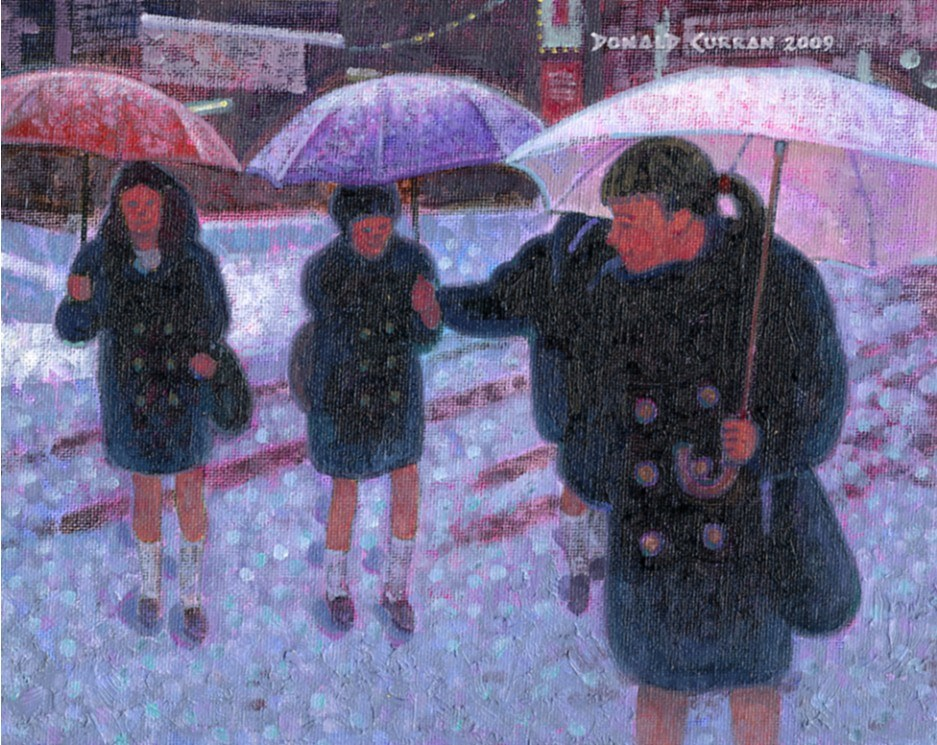 """Snowy Trip to School"" original fine art by Donald Curran"