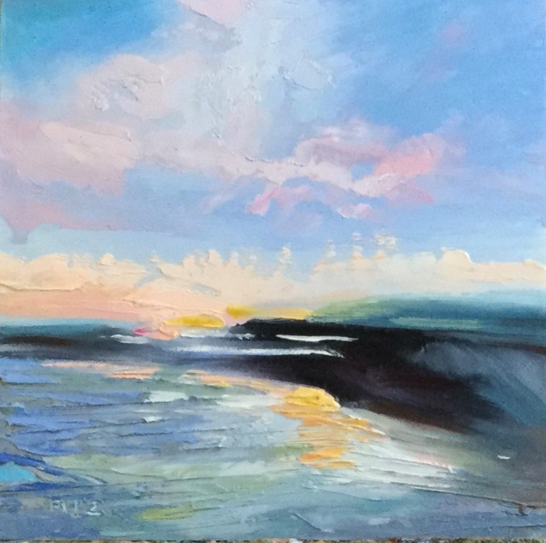 """""""Abstract Seascape 14"""" original fine art by Charlotte Fitzgerald"""