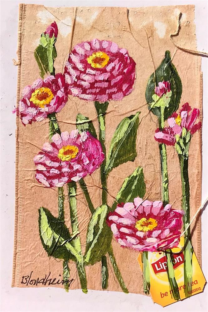 """Tea Bag Painting Zinnias"" original fine art by Linda Blondheim"