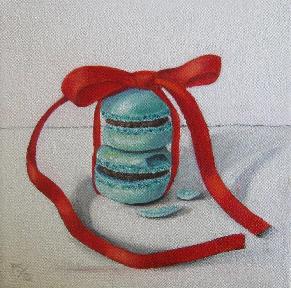 """""""Macaroons and Red Ribbon"""" original fine art by Pera Schillings"""