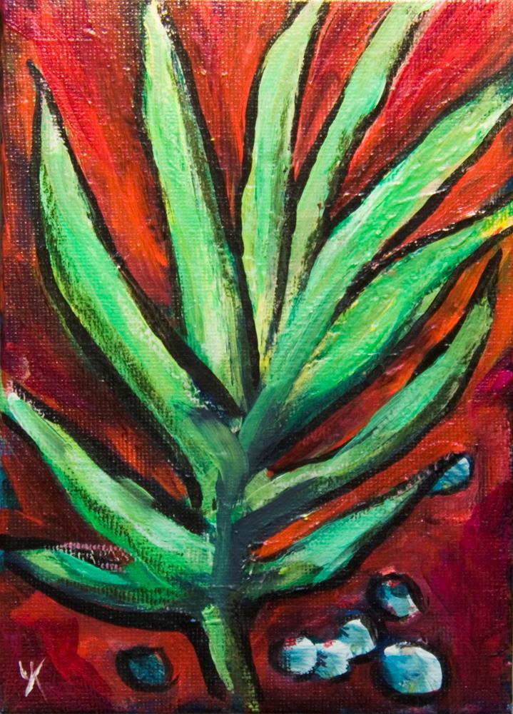 """""""Green Leaves"""" original fine art by Yulia Kazansky"""