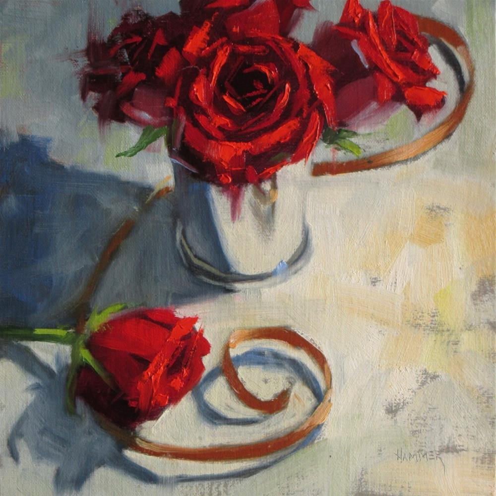 """Red roses with a Copper Ribbon  8 x 8  oil"" original fine art by Claudia Hammer"