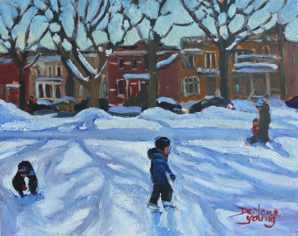 """""""Montreal Scene, Outremont Park, Learning to Skate"""" original fine art by Darlene Young"""