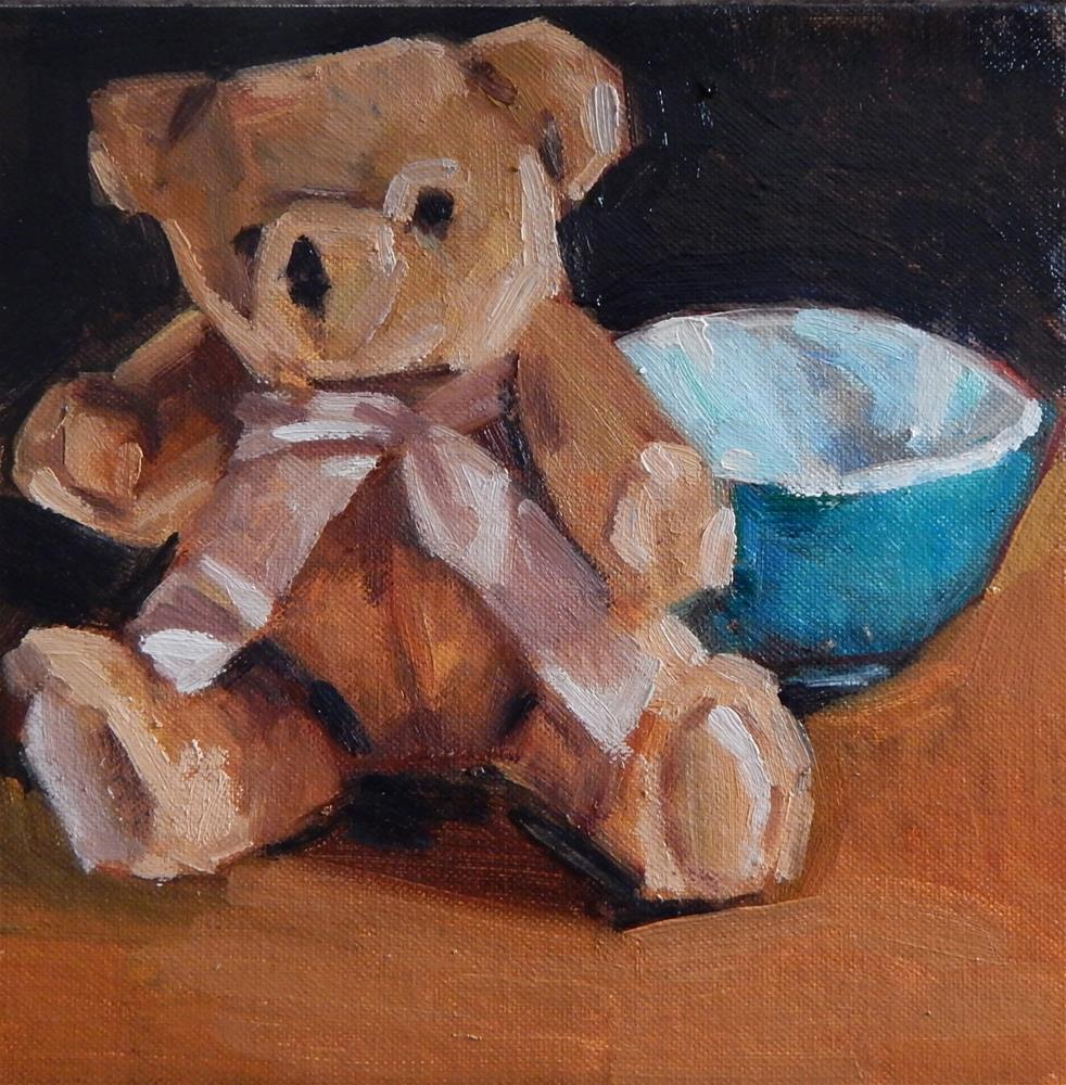 """""""Small Square Painting of a Bear and a Bowl"""" original fine art by Megan Schembre"""