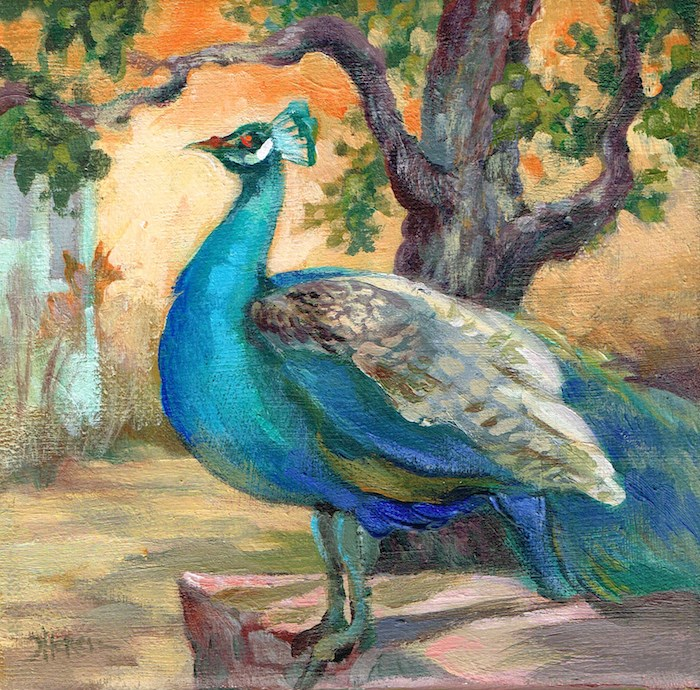 """""""Happy Peacock"""" original fine art by Theresa Taylor Bayer"""