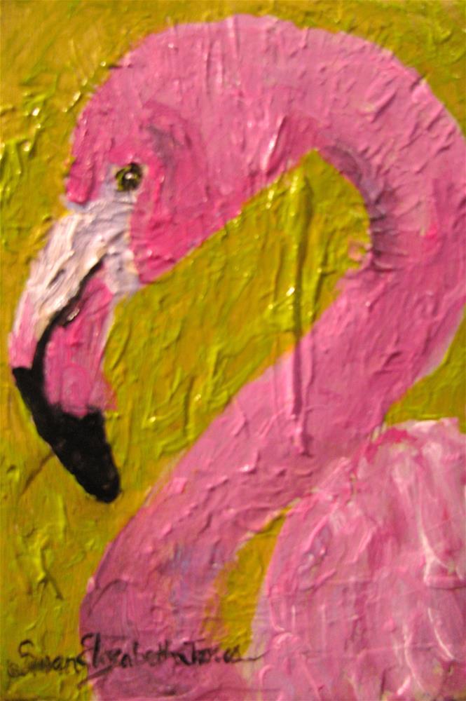 """Pink Flamingo"" original fine art by Susan Elizabeth Jones"