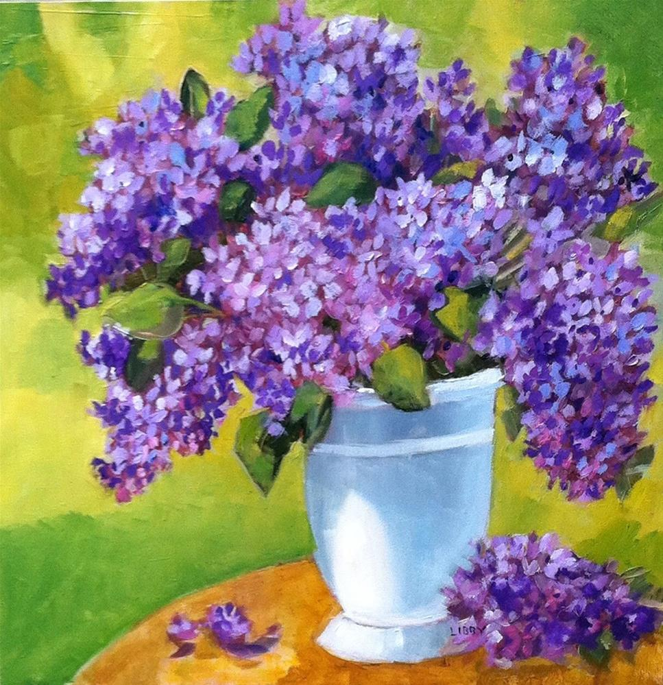 """""""Lilacs in White Vase"""" original fine art by Libby Anderson"""